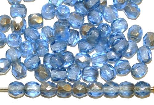Best.Nr.:28128 facettierte Glasperlen aqua mit Silber Veredelung, hergestellt in Gablonz Tschechien