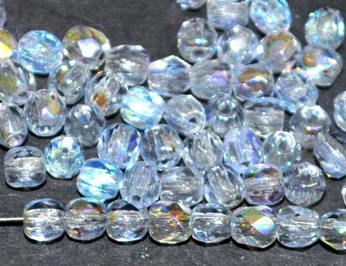 Best.Nr.:28134 facettierte Glasperlen  aqua hell mit AB, hergestellt in Gablonz / Tschechien