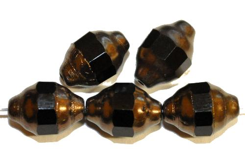 Best.Nr.:28136 Glasperlen mit facettiertem Band  schwarz mit bronze finish,  hergestellt in Gablonz / Böhmen
