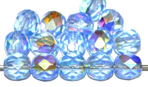 Best.Nr.:28145 facettierte Glasperlen  aqua transp. mit AB, hergestellt in Gablonz / Tschechien
