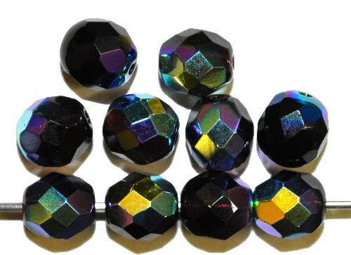 Best.Nr.:28149 facettierte Glasperlen  violett mit AB, hergestellt in Gablonz / Tschechien