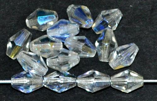 Best.Nr.:28150 facettierte Glasperlen bicon kristall mit AB, hergestellt in Gablonz / Tschechien