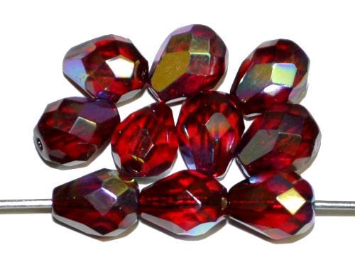 Best.Nr.:28151 Glasperlen Tropfen geschliffen, granatrot mit AB, hergestellt in Gablonz / Tschechien
