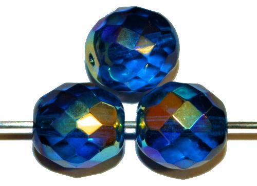 Best.:Nr.:28159 facettierte Glasperlen montanablau mt AB, hergestellt in Gablonz / Böhmen