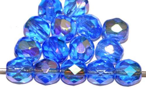 Best.Nr.:28163 facettierte Glasperlen  blau transp. mit AB, hergestellt in Gablonz / Tschechien