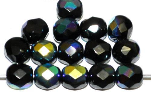 Best.Nr.:28164 facettierte Glasperlen  schwarz opak mit AB, hergestellt in Gablonz / Tschechien