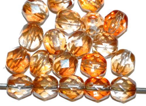 Best.Nr.:28168 facettierte Glasperlen Zweifarbenglas kristall topas mit lüster, hergestellt in Gablonz / Tschechien