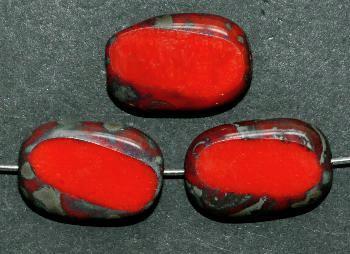 Best.Nr.:671243 Glasperlen / Table Cut Beads Olive geschliffen rot opak mit Travertin-Veredelung