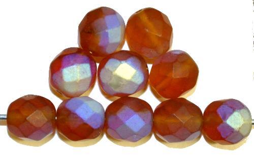 Best.Nr.:28171  facettierte Glasperlen  topas mattiert ( frostet ) mit AB,  hergestellt in Gablonz / Tschechien