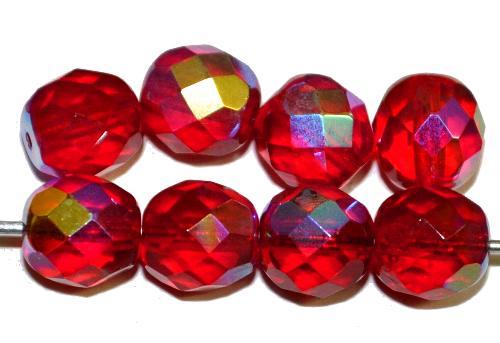 Best.Nr.:28173 facettierte Glasperlen  rot transp. mit AB, hergestellt in Gablonz / Tschechien