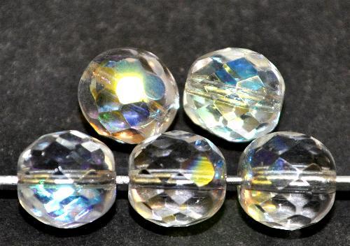 Best.Nr.:28176 facettierte Glasperlen kristall mit AB, hergestellt in Gablonz / Böhmen