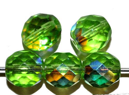 Best.Nr.:28189 facettierte Glasperlen hellgrün mit AB, hergestellt in Gablonz / Böhmen
