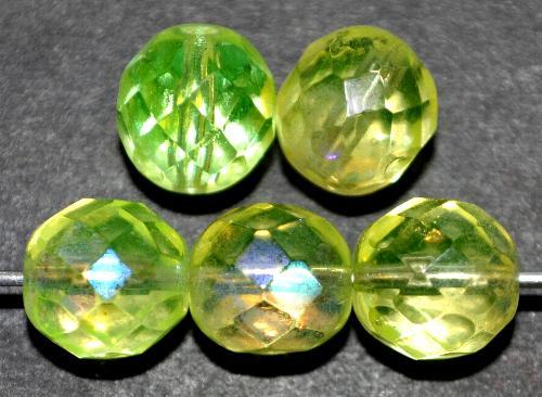 Best.Nr.:28191 facettierte Glasperlen Uranglas neongelb mit AB, hergestellt in Gablonz / Böhmen