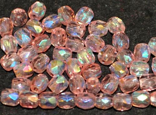 Best.Nr.:28195 facettierte Glasperlen  rosa mit AB, hergestellt in Gablonz / Böhmen