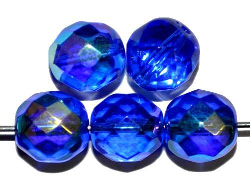 Best.Nr.:28198 facettierte Glasperlen blau transp. mit AB, hergestellt in Gablonz / Tschechien