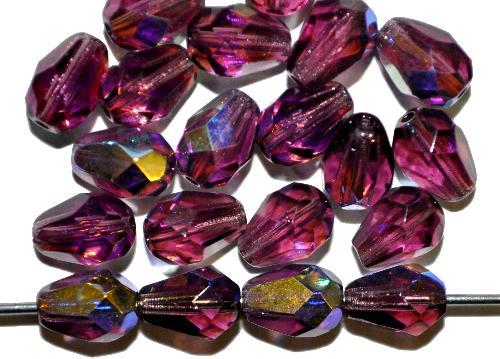 Best.Nr.:28206 facettierte Glasperlen Tropfen  violett transp. mit AB, hergestellt in Gablonz / Tschechien
