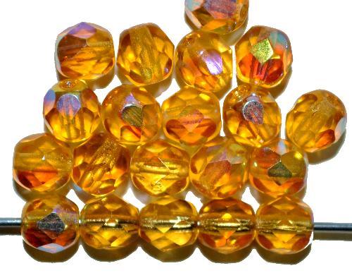 Best.Nr.:28215 facettierte Glasperlen honiggelb transp. mit AB, hergestellt in Gablonz / Tschechien