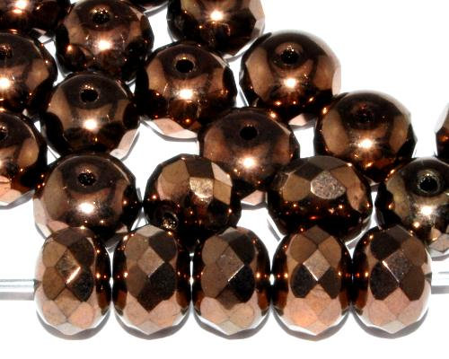 Best.Nr.:28217 facettierte Glasperlen Linsen metallic bronze,  hergestellt in Gablonz / Tschechien