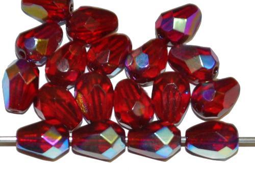 Best.Nr.:28222 facettierte Glasperlen Tropfen  granatrot transp. mit AB, hergestellt in Gablonz / Tschechien