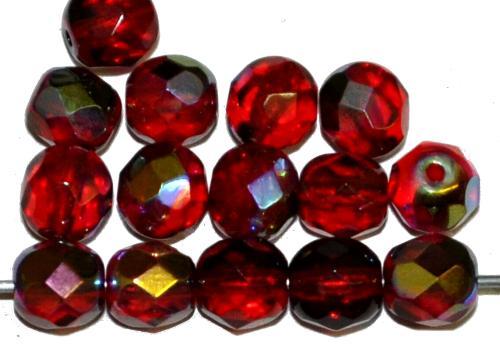 Best.Nr.:28226 facettierte Glasperlen  granatrot transp. mit AB, hergestellt in Gablonz / Tschechien