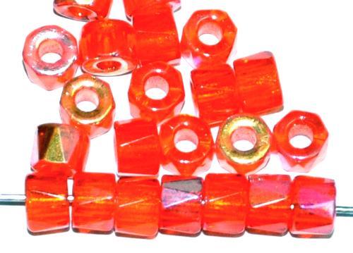 Best.Nr.:28235 Glasperlen facettiert orange transp. mit AB, Perlengröße: ca. 6/4mm  LochØ: ca. 2mm  pro Packung 25 St.