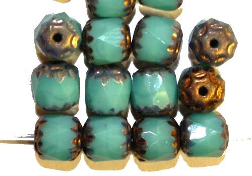 Best.Nr.:28236 facettierte Glasperlen / Barockperlen  türkis opak mit Bronzeauflage,  hergestellt in Gablonz / Tschechien