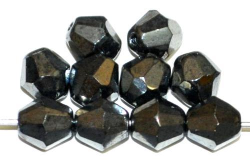 Best.Nr.:28249 facettierte Glasperlen hämatit, hergestellt in Gablonz / Tschechien
