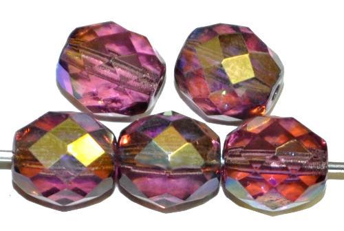 Best.Nr.:28253 facettierte Glasperlen  violett transp. mit AB, hergestellt in Gablonz / Tschechien