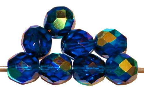 Best.Nr.:28254 facettierte Glasperlen montanablau transp. mit AB, hergestellt in Gablonz / Tschechien