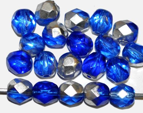 Best.Nr.:28257 facettierte Glasperlen verschiedene aquatöne mit Silberbedampfung, hergestellt in Gablonz / Tschechien