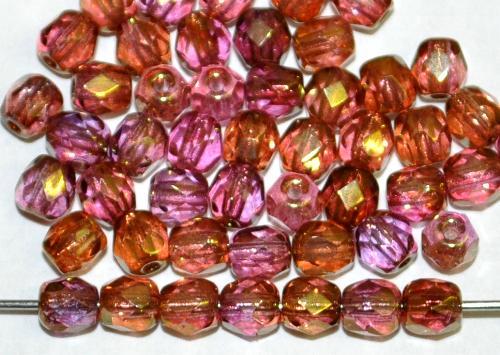 Best.Nr.:28259 facettierte Glasperlen, rosa mit metallic finish, hergestellt in Gablonz / Tschechien