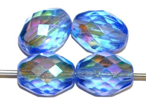 Best.Nr.:28260 facettierte Glasperlen Oliven  aqua transp. mit AB, hergestellt in Gablonz Tschechien
