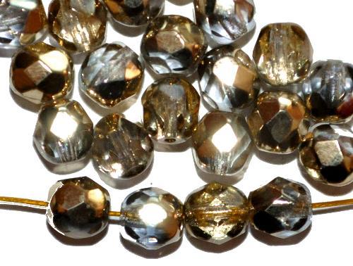 Best.Nr.:28271 facettierte Glasperlen kristall/eine Seite mit metallic Veredelung, hergestellt in Gablonz / Tschechien