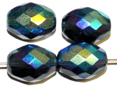 Best.Nr.:28275 facettierte Glasperlen Oliven  taubenblau transp. mit AB, hergestellt in Gablonz / Tschechien
