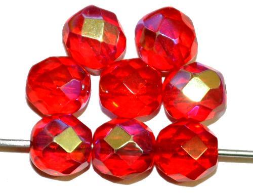 Best.Nr.:28277 facettierte Glasperlen  rot transp. mit AB,  hergestellt in Gablonz / Tschechien