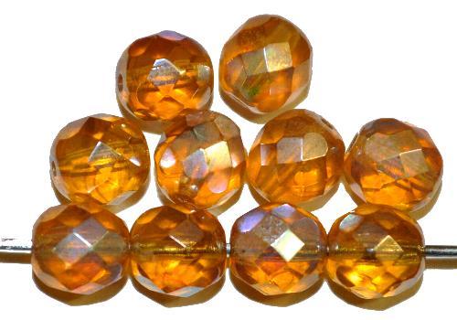 Best.Nr.:28281 facettierte Glasperlen  honiggelb transp. mit AB und lüster, hergestellt in Gablonz / Tschechien