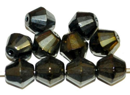 Best.Nr.:28285 Glasperlen bicon geschliffen metallic, hergestellt in Gablonz / Tschechien