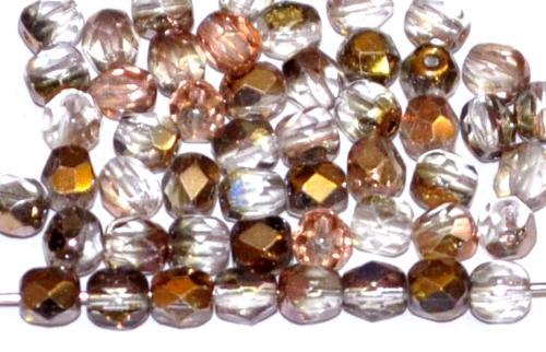 Best.Nr.:28286 facettierte Glasperlen  mit metallic Veredelung, hergestellt in Gablonz / Tschechien