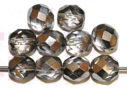 Best.Nr.:28287 facettierte Glasperlen Black Diamond mit platin Veredelung, hergestellt in Gablonz / Tschechien
