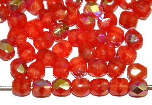 Best.Nr.:28288 facettierte Glasperlen Perlettglas rot mit AB, hergestellt in Gablonz / Tschechien