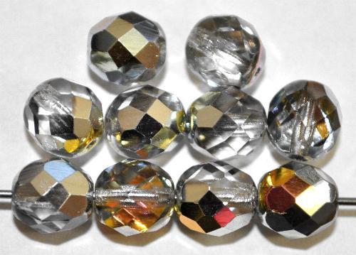 Best.Nr.:28295 facettierte Glasperlen leicht rauchig mit metallic Veredelung, hergestellt in Gablonz / Tschechien