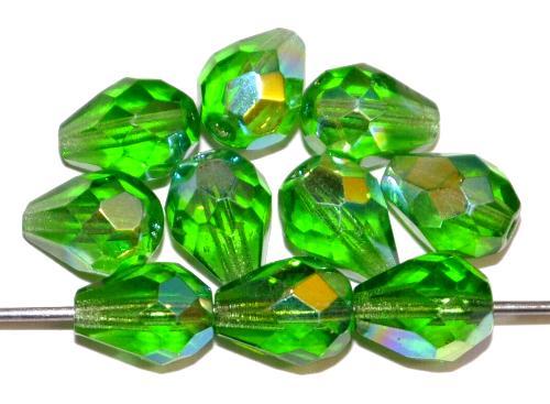 Best.Nr.:28300 Glasperlen Tropfen geschliffen, grün transp. mit AB, hergestellt in Gablonz / Tschechien