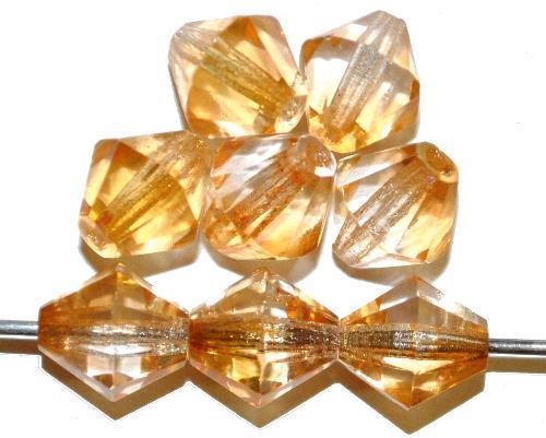 Best.Nr.:28310 facettierte Glasperlen bicon mit AB, hergestellt in Gablonz / Tschechien