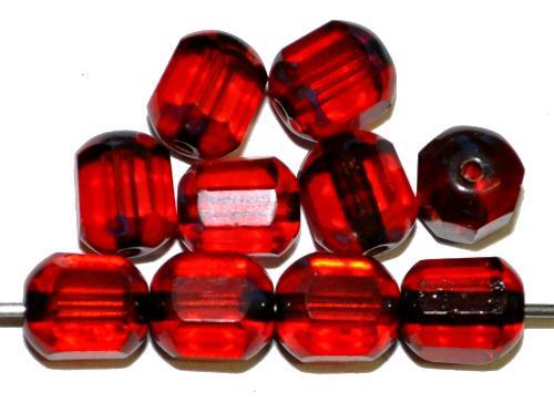Best.Nr.:28319 facettierte Glasperlen / Windowbeads  rot transp. mit picasso finish,  hergestellt in Gablonz / Tschechien
