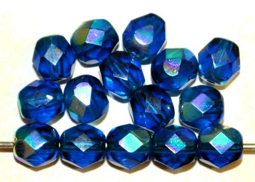 Best.Nr.:28322 facettierte Glasperlen montanablau mit AB, hergestellt in Gablonz / Tschechien