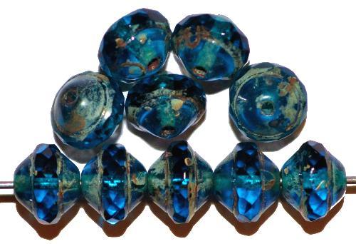 Best.Nr.:28327 Glasperlen montanablau  mit facettiertem Band  und picasso finish,  hergestellt in Gablonz / Tschechien