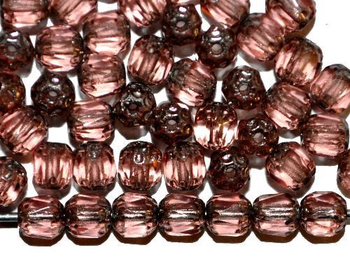 Best.Nr.:28329  facettierte Glasperlen / Barockperlen  french violett transp. mit antiksilver finish,  hergestellt in Gablonz / Tschechien