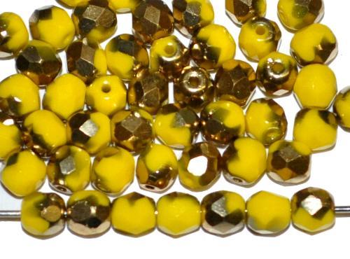 Best.Nr.:28344 facettierte Glasperlen, gelb opak mit messing metallic finish, hergestellt in Gablonz / Tschechien