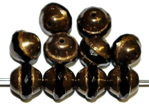 Best.Nr.:28349 Glasperlen mit facettiertem Band schwarz mit bronze Auflage, hergestellt in Gablonz / Tschechien