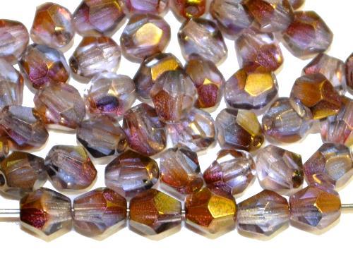 Best.Nr.:28357 facettierte Glasperlen bicon violett kristall mit Cupfer Veredelung, hergestellt in Gablonz / Tschechien